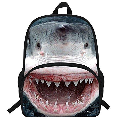 VEEWOW 16Inch Sac à dos impression de requin pour enfants (33D930)