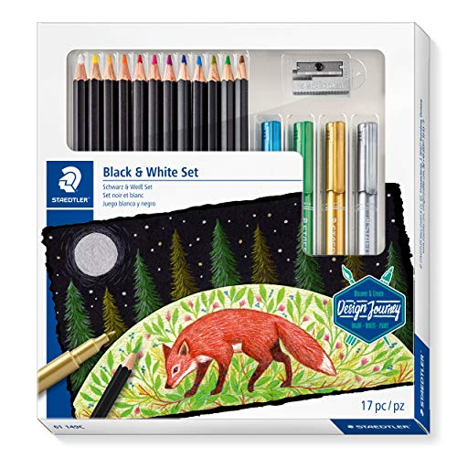 STAEDTLER Design Journey Black & White Set of Soft Coloured Pencils, Metallic Markers and Sharpener