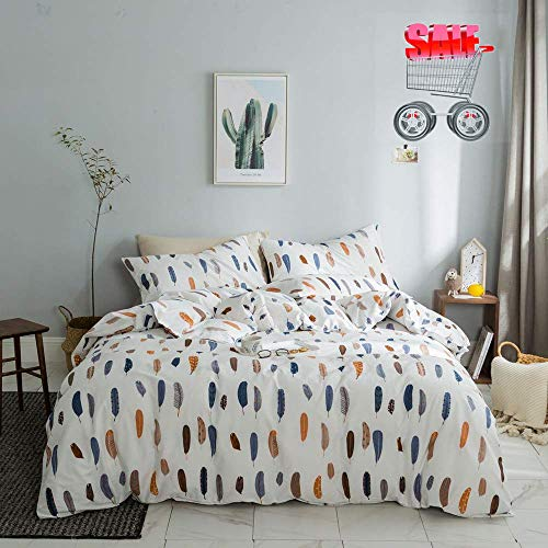 Feather Print Pattern Lightweight Duvet Cover Set White with Zipper Closure 200 Thread Count,Premium Soft Cotton King Bedding Collections for Men Women Boys Girls,Cozy,No Comforter ()