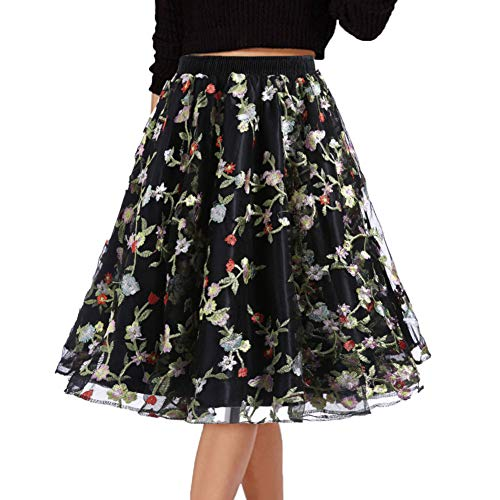 (DYS Women's Embroidered Floral Skirt Short A-line Casual Party Dress Vintage Multicolor C012 L/XL)