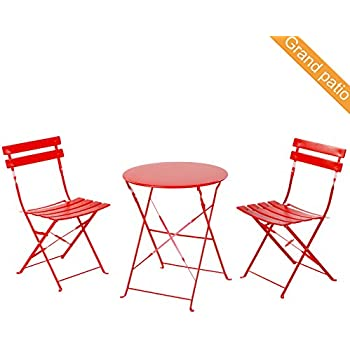 Amazon Com Cosco 3 Piece Folding Bistro Style Patio Table And Chairs Set Red
