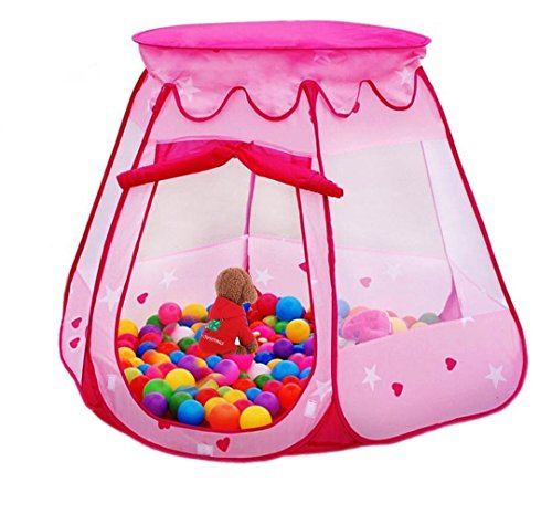 Amtinyjoy Pink Princess Tent Indoor and Outdoor 1-8 Years Old Children Game Play Toys Tent Balls Not Included for sale