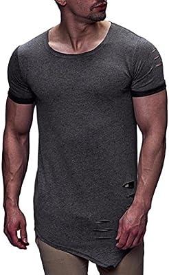 LuckyGirls Camisetas Hombre Originales Rotos Irregular Diseñar ...