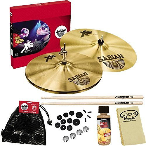 Sabian XS5011B-Kit01 XS20 First Pack Cymbal Set 14-Inch - Brilliant Finish with ChromaCast Accessories