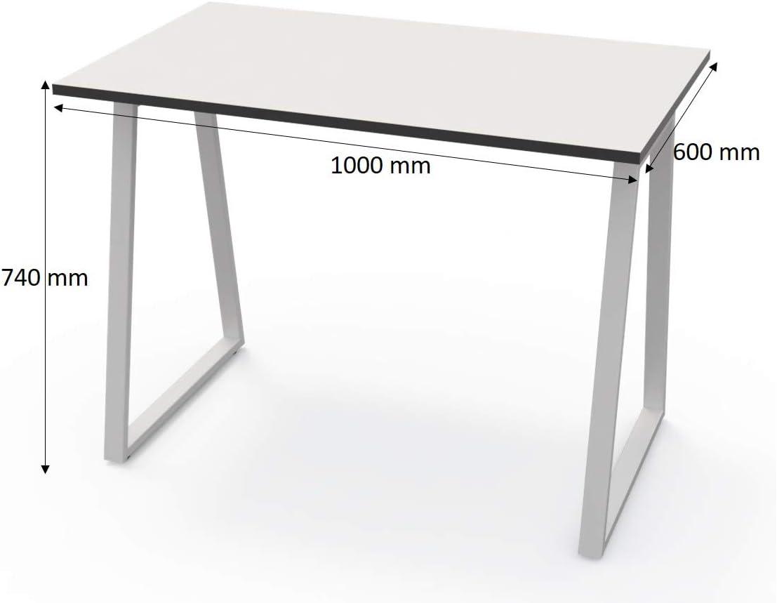 LEVIRA – Mesa de Oficina, Escritório, Leith - 100 x 74 - Blanco y Negro: Amazon.es: Hogar