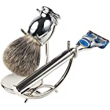 Parker's Luxurious 3-Piece Shave Set with Stainless Steel Fusion Compatible Razor Handle, Premium Pure Badger Brush & Deluxe Stand
