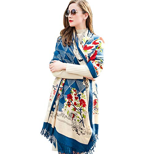 DANA XU 100% Pure Wool Women Winter Large Size Pashmina Travel Shawl (Deep - Pure Tie Wool