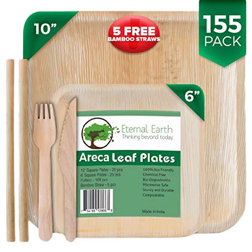 Eternal.Earth Disposable Areca Palm Leaf Plates | 10&6 Inch Square | 155 Piece Dinnerware Party Set | 50 Compostable Wood Forks & 50 Biodegradable Knives | +5 FREE Eco-Friendly Reusable Bamboo Straws (Dinner Plate 10 Inch Set)