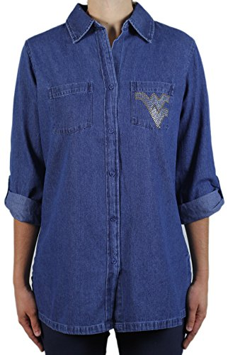 - Nitro USA NCAA West Virginia Mountaineers Button Roll Sleeve Tunic T-Shirt, 2X, Denim