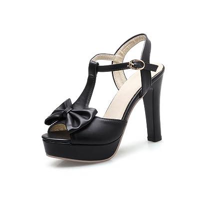 25e096b18 BalaMasa Womens Solid Platform Bows Black Urethane Sandals ASL05593-4 B(M)  US