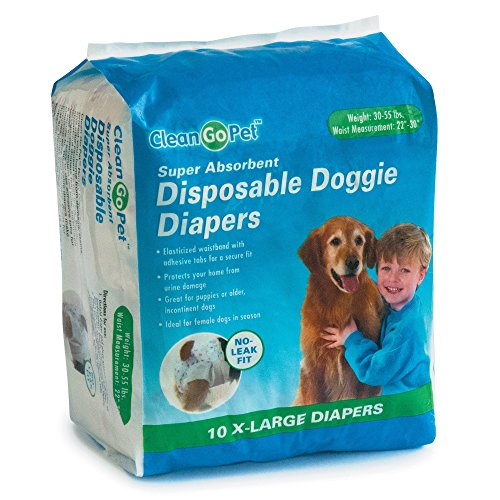 Clean Go Pet Disposable Doggie Diapers - Convenient Diapers for Incontinent Dogs, Dogs in Heat, and...