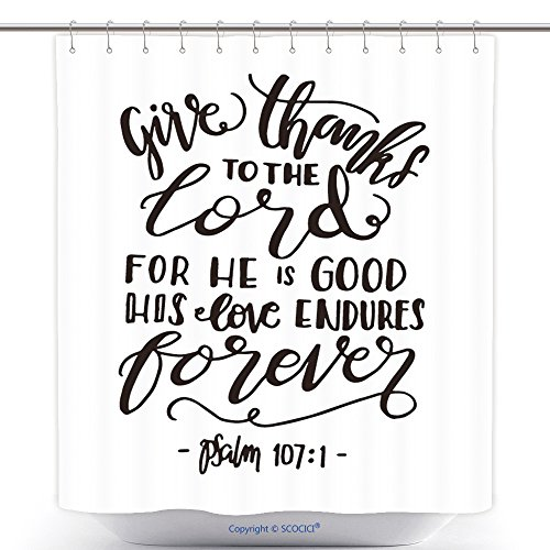 Stylish Shower Curtains Give Thanks To The Lord For He Is Good His Love Endures Forever Hand Lettered Quote Bible Verse 507116959 Polyester Bathroom Shower Curtain Set With Hooks