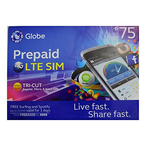 Globe Prepaid LTE Philippines Sim Card Tri Cut Nano Micro (Best Prepaid Sim Card Philippines)
