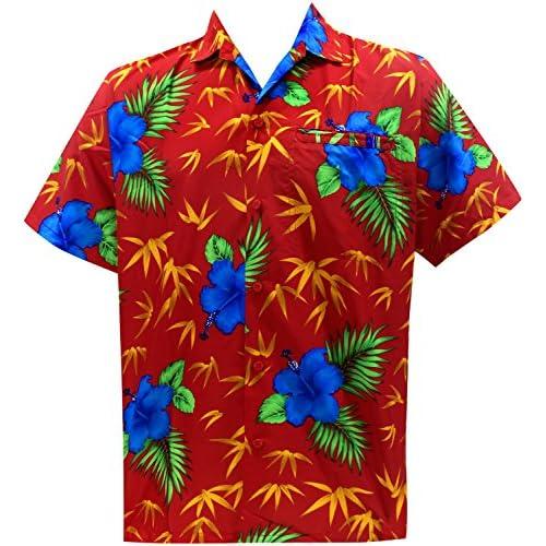 *La Leela* relajó la Aloha Hawaiano Botón de Manga Corta de los Hombres Abajo Hawaiano Camisa Azul qjfgMHO6