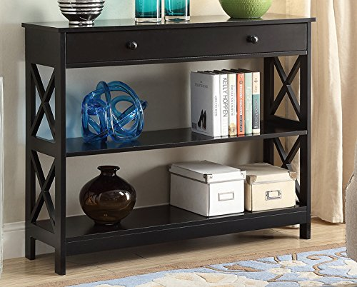 Convenience Concepts Oxford 1-Drawer Console Table, Black (Drawer 1)