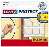 tesa UK Protect Self Adhesive Pads, Square - White, 8 Pads