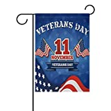 U LIFE Retro Vintage Happy Veterans Day American Stars and Stripes Garden Yard Flag Banner for Outside House Flower Pot Double Side Print 40 x 28 & 12 x 18 Inch