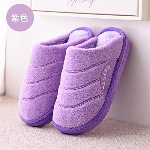 Les hommes plus âgés's winter accueil antidérapant épais chambre velours moelleux chaud épais coton papa chaussons accueil ,270 (40-41, 39-40) pour le violet