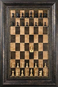 Taj Mahal chess pieces on vertical wall hung Cherry Bean series Straight Up Chess board with the Antique Bronze Frame