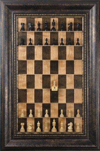 (Taj Mahal chess pieces on vertical wall hung Cherry Bean series Straight Up Chess board with the Antique Bronze Frame)