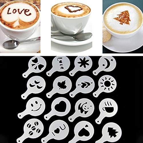 Ocamo 16pcs/Set DIY Decorating Cake Cappuccino FoamTool Thicken Coffee Latte Art Stencils Mold ()