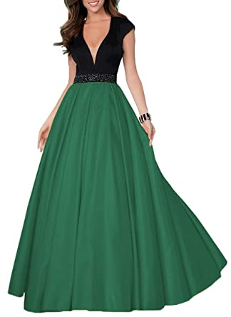 94835716243 YORFORMALS Women s Cap Sleeve Beaded Ball Gown Formal Party Dress Long Deep  V-Neck Backless
