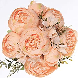 Luyue Vintage Artificial Peony Silk Flowers Bouquet Home Wedding Decoration (Spring Orange) 80