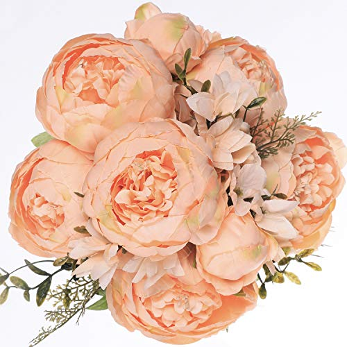 Luyue Vintage Artificial Peony Silk Flowers Bouquet Home Wedding Decoration (Spring Orange)]()