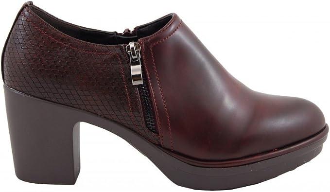Zapato Abotinado Tacón Medio Marrón Benavente Amazon Es Zapatos Y Complementos