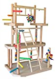 BirdsComfort Parrot PlayGym, Bird Activity Center, Wood Table Top Play Pen for Small Pionus, Amazons, African Greys, Eclectus, - Base: 30'' x 20' , Overall Height: 40'' - 4 levels