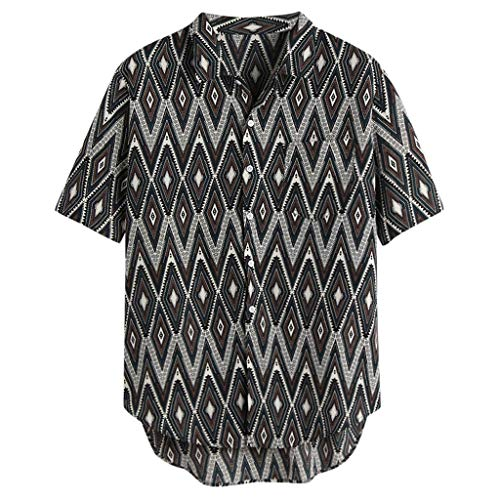 Sendke Men's Vintage Stripe Shirts Casual Short Sleeves Half Button Up Shirt Printing Fashion T-Shirts with Pocket Gray