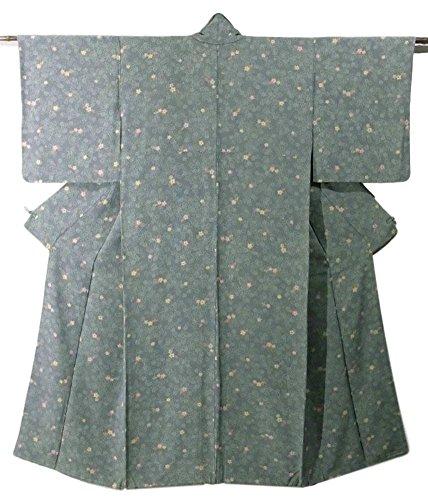 リサイクル 着物 小紋  正絹 袷 小梅の花模様 裄62cm 身丈147cm