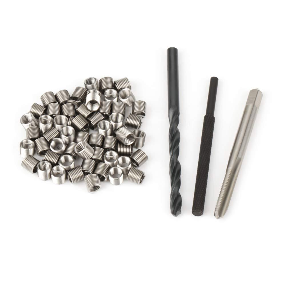 Screw Thread Insert 50pcs Stainless Steel Coiled Wire Helical Screw Thread Inserts M5 x 2D Thread Repair Insert