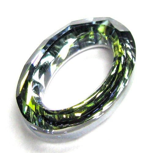 (1 pc Swarovski Crystal 4137 Oval Cosmic Ring Frame Pendant Charm Sahara 15mm / Findings / Crystallized Element)