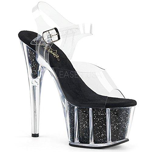 Pleaser PleaserAdo708g/c/s - Sandalias Mujer Clr/Black Glitter Inserts