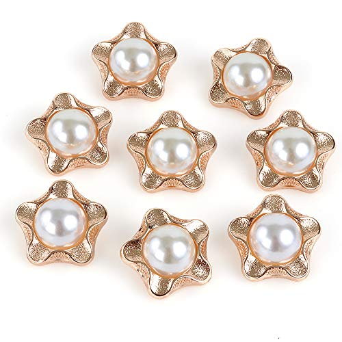 (XinRui 8 Pcs Premium Electroplated Metal Gold Tone Buttons with Austrialia Pearl (Frosted Gold B) )