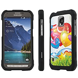 NakedShield AT&T Samsung Galaxy Active [ S5 ] (Rainbow Hearts) Total Hard Armor Purple LifeStyle Phone Case