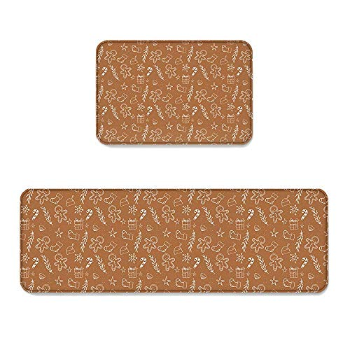 YGUII Gingerbread Man 2 Piece Non-Slip Kitchen Mat Runner Rug Set Doormat Area Rugs Festive Christmas Icons Graphic Pattern Illustration Retro Theme 16X23.6in (40x60cm) and 16X47in (40x120cm)