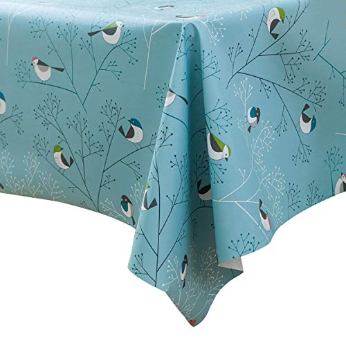 LEEVAN Heavy Weight Vinyl Square Table Cover Wipe Clean PVC Tablecloth Oil-Proof/Waterproof Stain-Resistant/Mildew-Proof (54X54 Inch - 137X137 cm, Blue Bird) ()