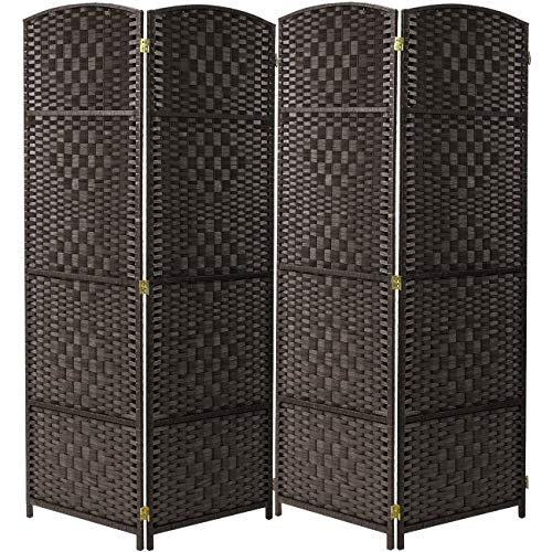 (Sorbus Room Divider Privacy Screen, Foldable Panel Partition Wall Divider, Room Dividers and Folding Privacy Screens, Diamond Double-Weaved (4 Panel, Espresso Brown))