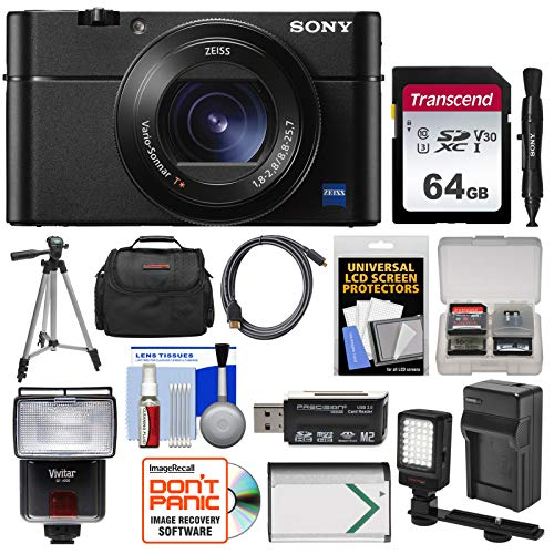 Sony Cyber-Shot DSC-RX100 V A 4K Wi-Fi Digital Camera with 64GB Card + Case + Flash + Video Light + Battery & Charger + Tripod + Kit