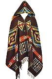 VamJump Women Winter Hooded Tassel Plaid Batwing Cardigan Coat Ponchos Cape