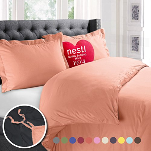 Peach Comforter Sets (Nestl Bedding Duvet Cover, Protects and Covers your Comforter / Duvet Insert, Luxury 100% Super Soft Microfiber, Full Size, Color Peach, 3 Piece Duvet Cover Set Includes 2 Pillow Shams)