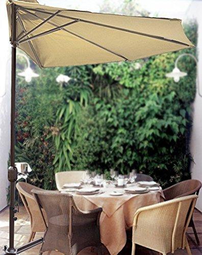 STRONG CAMEL 10′ Patio Half Umbrella Wall Balcony Sun Shade Garden Outdoor Parasol-BEIGE For Sale