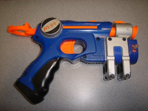2003 Hasbro, Inc. Hasbro Nerf Laser Pointer Nerf Laser Tag Dart Gun Pull Back Dart Gun Item #C-086D (Violet Blue/Orange/Grey/Black Color)