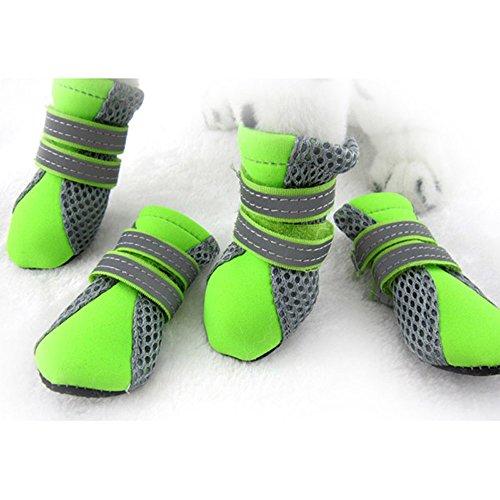 Ecloud Shop® Mascota del perrito del animal doméstico Botas zapatos de malla transpirable suela de goma antideslizante Soft (verde-S)
