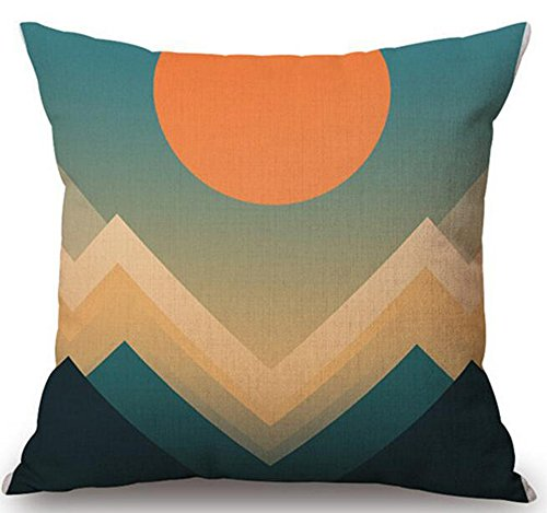 (QINU KEONU Hill and Sun Geometric Patterns Cotton Linen Throw Pillow Case Cushion Cover Home Sofa Decorative 18x 18 Inch)