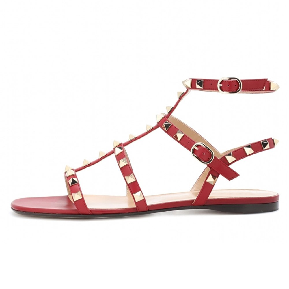 VOCOSI Women's Flats Sandals,Rivets Studs Ankle Strap Strappy Summer Sandals Shoes B072JWBF4Q 8.5 B(M) US|Red