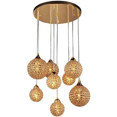 "22"" 8 Pcs Golden Chrome Crystal Balls Parlor Ceiling Pendant Lights Living Room Luxury Gold Chandelier Fixtures"