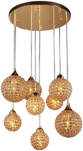 "22"" 8 Pcs Golden Chrome Crystal Balls Parlor Ceiling Pendant Lights Living Room Luxury Gold Chandelier Fixtures"